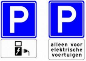 verkeersbord laadpaal parkeren